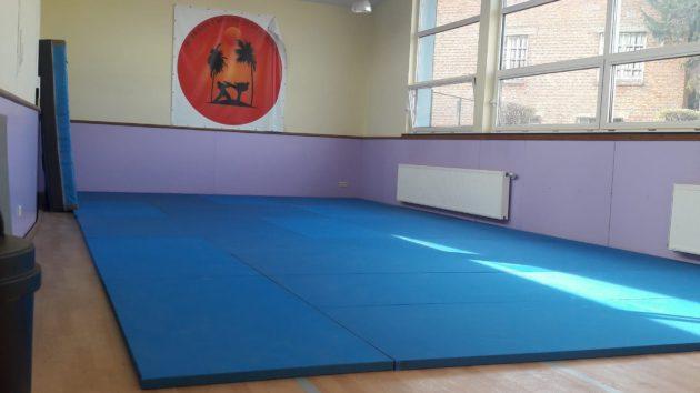 <p>La salle dispose d'une vingtaine de tatamis, dimension de 12,43 m * 6,02 m </p>