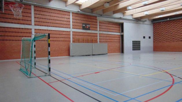 <p>L'aire de jeu est de 29,60/18,02 m; la hauteur sous plafond de 7 m</p>